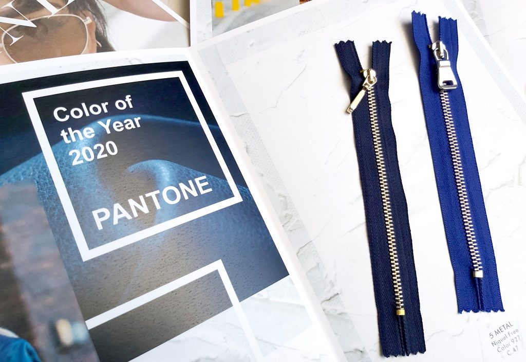 Color Pantone of the Year 2020 zippers classic blue