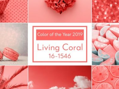 Trendy creative collage inspired by Living Coral color of the Year 2019. Love heart, sweet, holiday gift, fashion.
